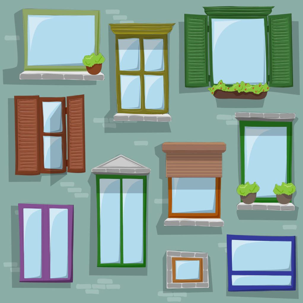 Different colore and style windows drawing on building