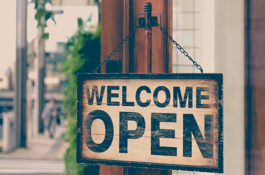 Wood open sign board hang on shop wood door , Open sign , Open signboard