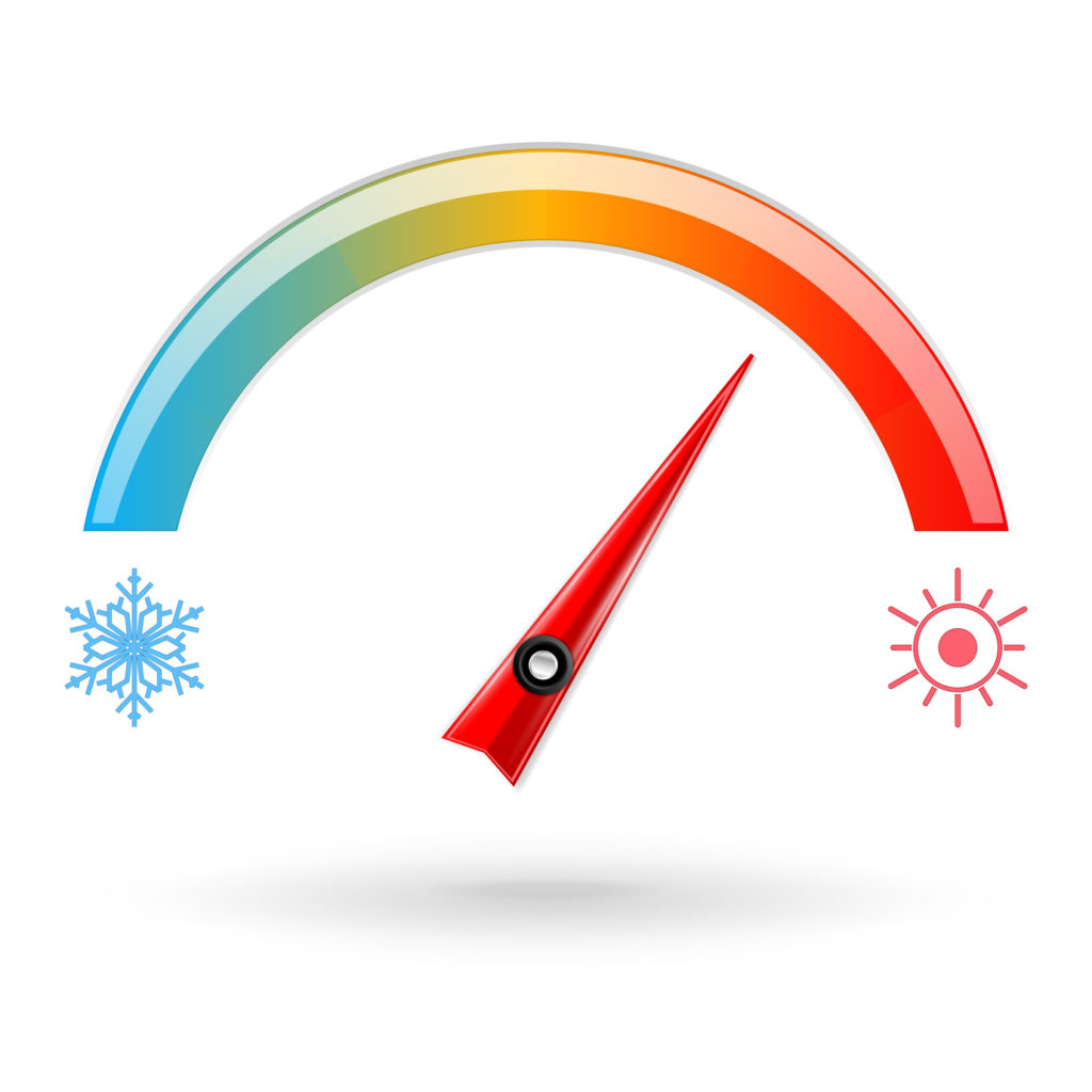 Temperature scale. Weather indication. Vector 3d illustration